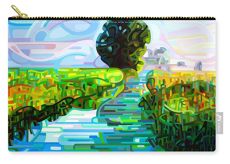Abstract Carry-all Pouch featuring the painting Ebb And Flow by Mandy Budan