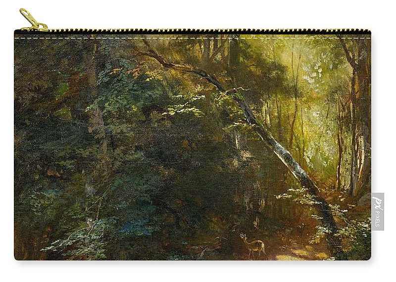 Nature Carry-all Pouch featuring the painting Ebert, Carl 1821 Stuttgart - 1885  Inside A Forest. by Ebert Carl