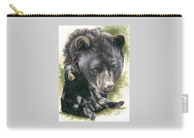 Black Bear Carry-all Pouch featuring the mixed media Ebony by Barbara Keith