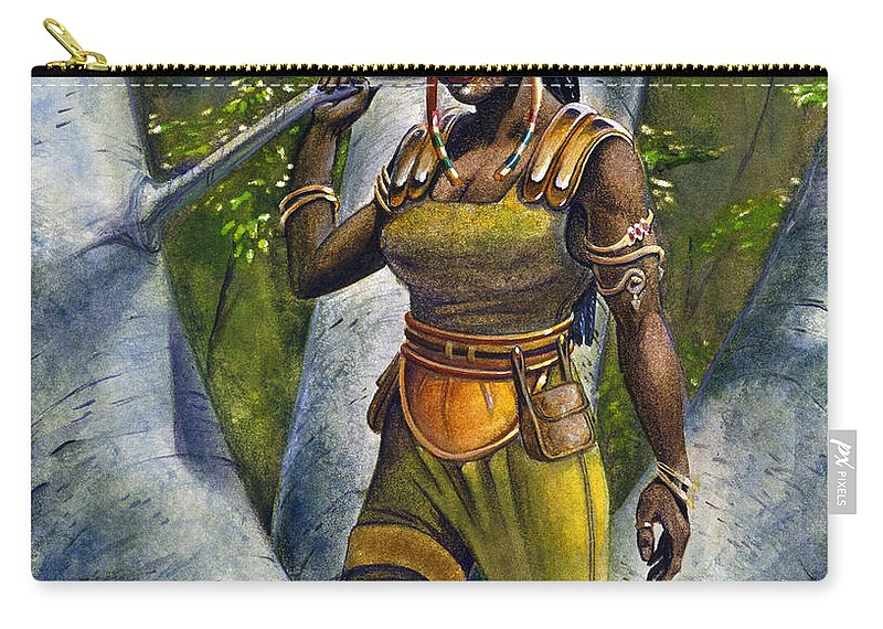 Elf Carry-all Pouch featuring the painting Ebony Elf by Melissa A Benson