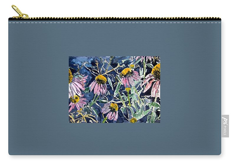 Echinacea Carry-all Pouch featuring the painting Echinacea Cone Flower Art by Derek Mccrea