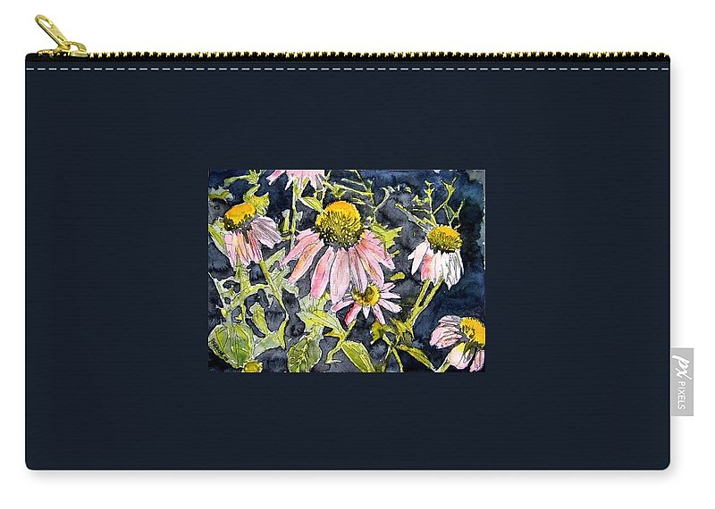Echinacea Carry-all Pouch featuring the painting Echinacea Coneflower 2 by Derek Mccrea