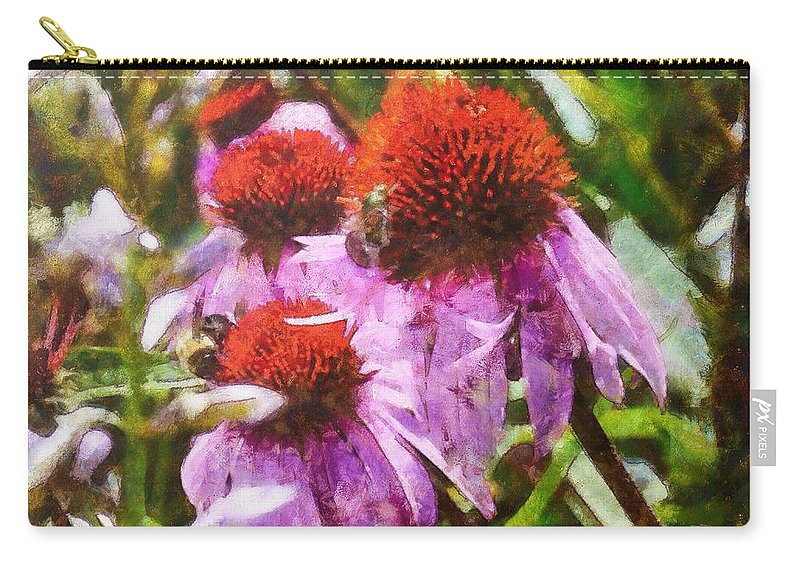 Nature Carry-all Pouch featuring the digital art Echinacea Watercolor 2015 by Kathryn Strick