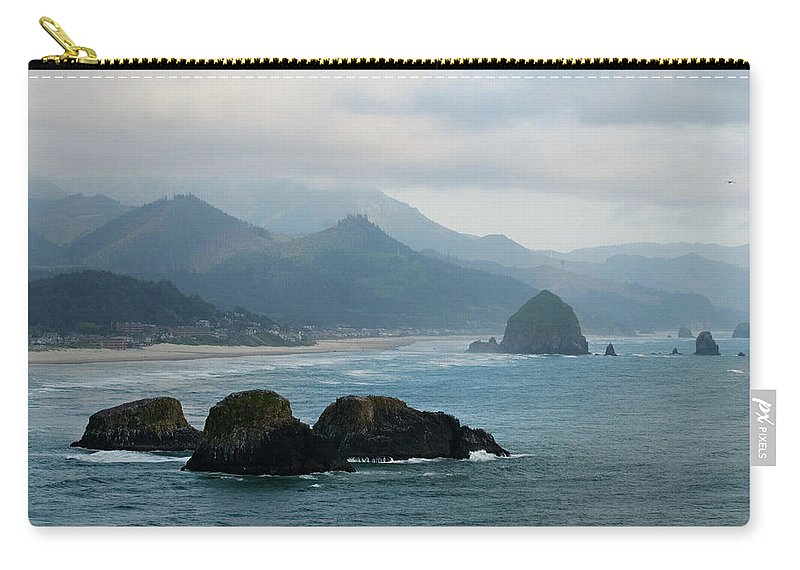 Oregon Carry-all Pouch featuring the photograph Ecola State Park View Of Haystack Rock And 3 Arch Rocks by Renee Hong