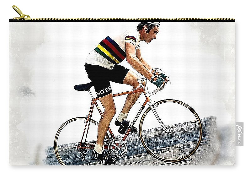 Eddie Merckx Carry-all Pouch featuring the digital art Eddie Merckx #2 by Karl Knox Images