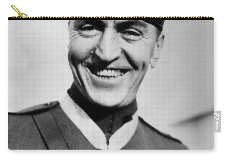 Eddie Rickenbacker Carry-all Pouch featuring the photograph Eddie Rickenbacker Wearing The Medal Of Honor by War Is Hell Store