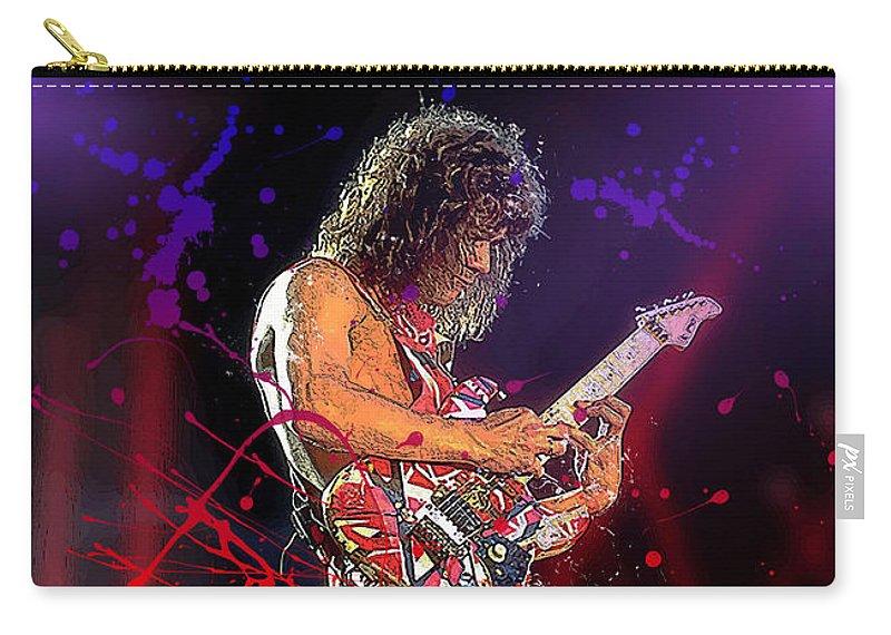 Eddie Van Halen Carry-all Pouch featuring the digital art Eddie Van Halen by Hay Rouleaux