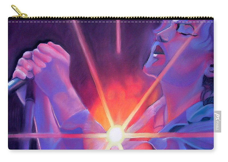 Eddie Veder Carry-all Pouch featuring the drawing Eddie Vedder And Lights by Joshua Morton