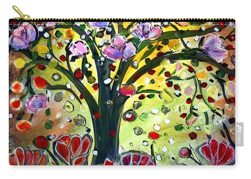 Flowers Carry-all Pouch featuring the painting Eden Garden by Luiza Vizoli