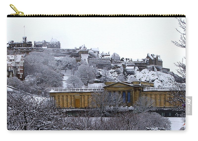 Scotland Carry-all Pouch featuring the photograph Edinburgh Castle And National Galleries Of Scotland In Winter by Heather Lennox