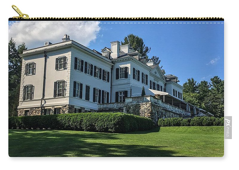 Edith Wharton Estate Historical Building Luxurylifestyle Mansion House Sky And Clouds Architecture Building Exterior Built Structure Cloud - Sky Day Grass Growth Landscape_photography Landscapes Nature No People Outdoors Plant Sky Sky And Trees Travel Destinations Tree Water Carry-all Pouch featuring the photograph Edith Wharton Estate by Mark Sellers