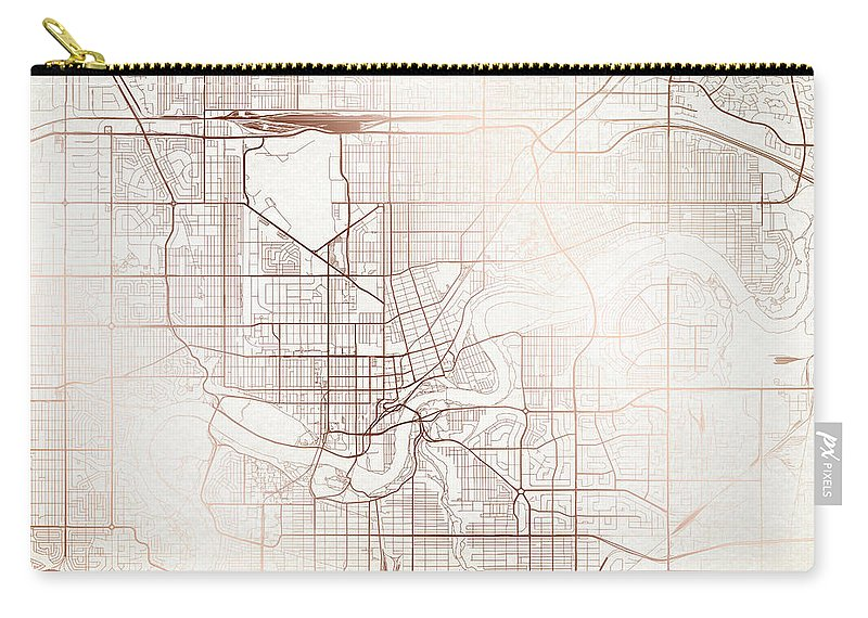 Map Carry-all Pouch featuring the digital art Edmonton Street Map Colorful Copper Modern Minimalist by Jurq Studio