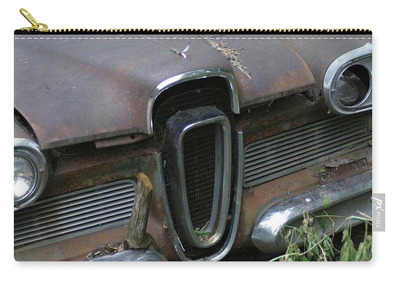 Junkyard Carry-all Pouch featuring the photograph Edsel -58 by Bjorn Sjogren