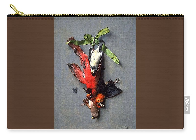 Nature Carry-all Pouch featuring the painting Eduard Quitton Still Life With Green Ribbon, Fly, And Four American Birds by Eduard Quitton