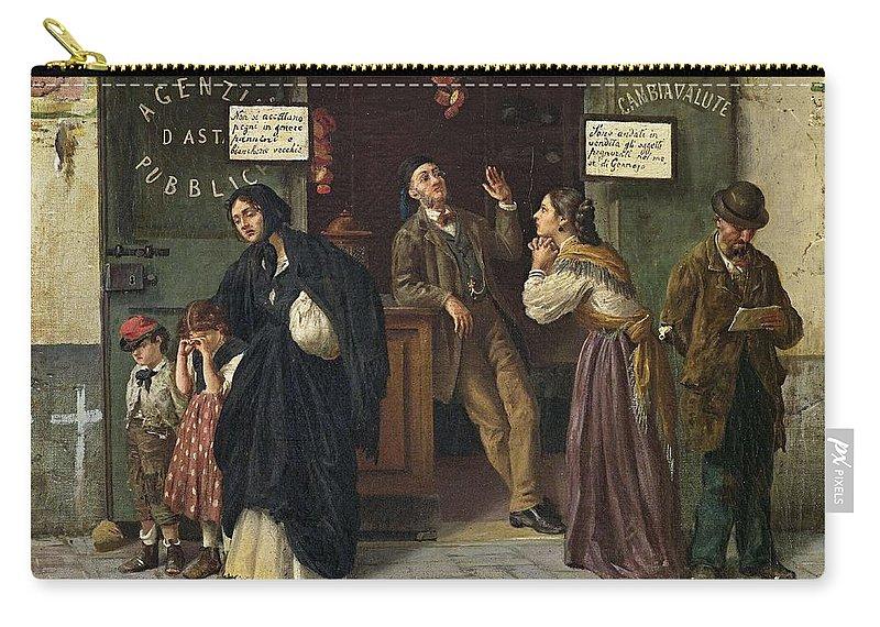 Man Carry-all Pouch featuring the painting Eduardo Matania, Beim Pfandleiher 1870s by Eduardo Matania