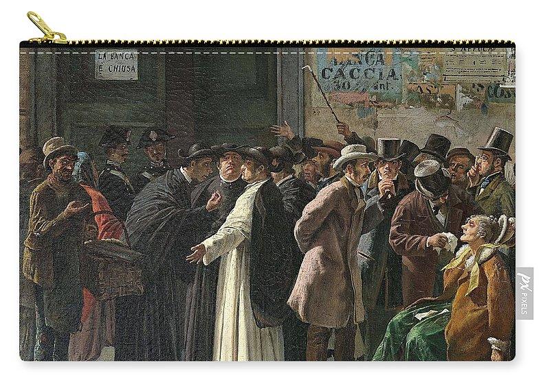 Man Carry-all Pouch featuring the painting Eduardo Matania, Shuttered Bank by Eduardo Matania