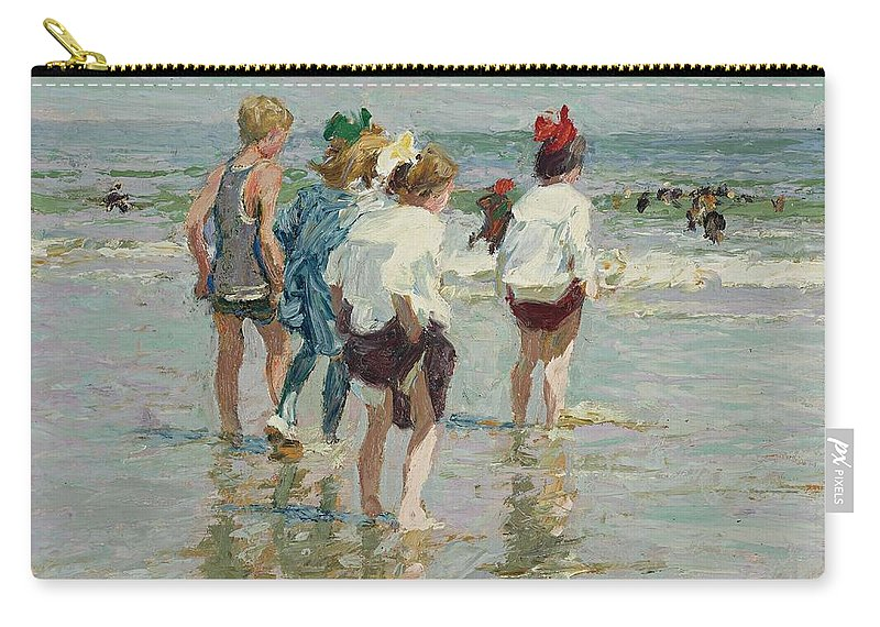 Beach Carry-all Pouch featuring the painting Edward Henry Potthast 1857 - 1927 Summer Day, Brighton Beach by Edward Henry Potthast