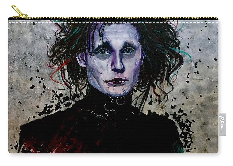 Portrait Of Edward Scissorhands Carry-all Pouch featuring the painting Edward by Joel Tesch