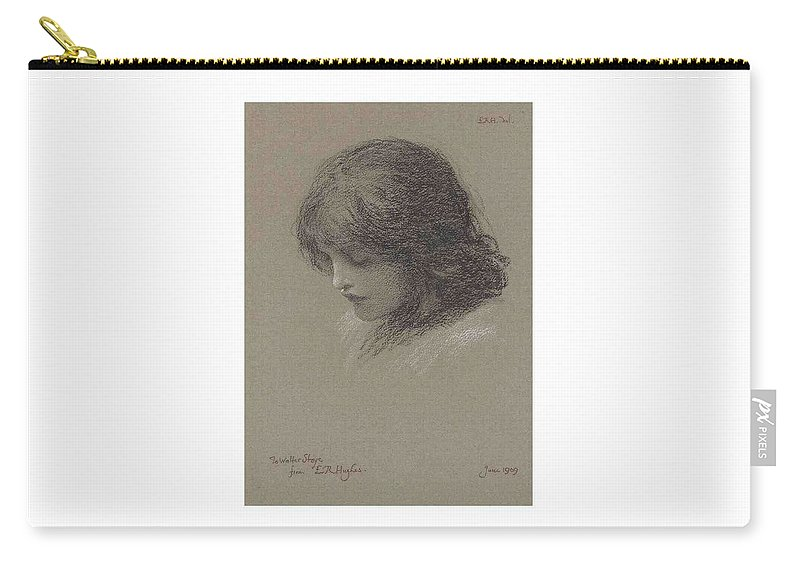 Girl Carry-all Pouch featuring the painting Edward Robert Hughes, R.w.s. 1851-1914 Head Study Of A Young Girl, Looking Downwards by Edward Robert Hughes