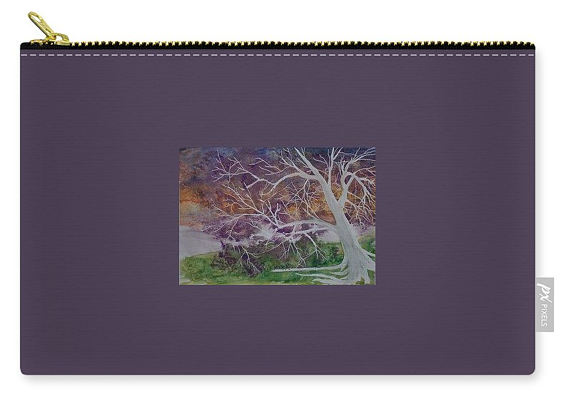 Watercolor Carry-all Pouch featuring the painting EERIE gothic landscape fine art surreal print by Derek Mccrea