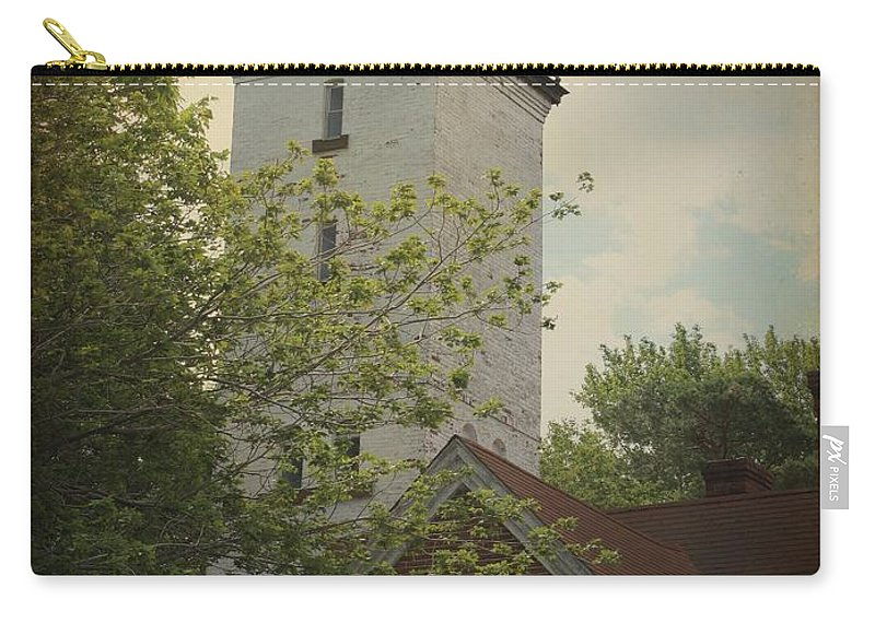 Lighthouse Carry-all Pouch featuring the photograph Erie Lighthouse 1872 by Gothicrow Images