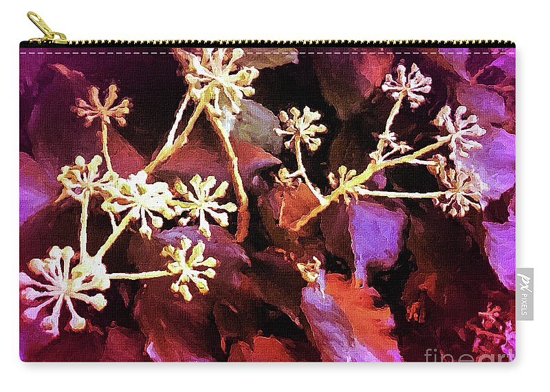 Mona Stut Carry-all Pouch featuring the digital art Efeu Ivy Vines Pink by Mona Stut