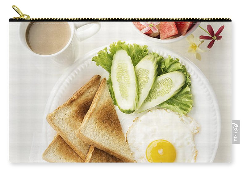 Background Carry-all Pouch featuring the photograph Egg Salad Toast Fruit And Coffee Breakfast Set by Jacek Malipan