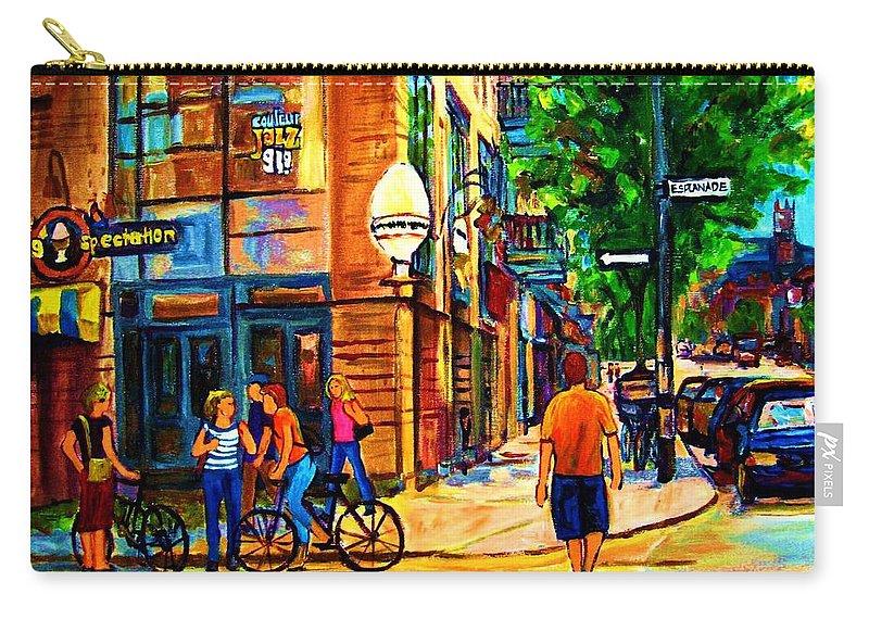 Eggspectation Cafe On Esplanade Carry-all Pouch featuring the painting Eggspectation Cafe On Esplanade by Carole Spandau