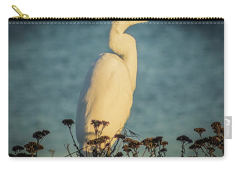 Egret Carry-all Pouch featuring the photograph Egret At Dusk by Elaine Webster