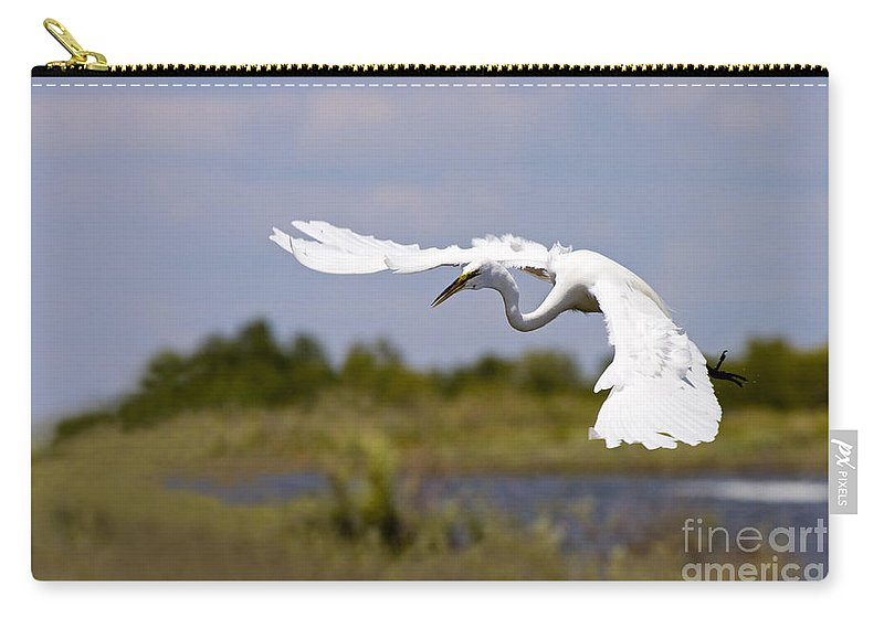 Egret Carry-all Pouch featuring the photograph Egret Ballet by Mike Dawson