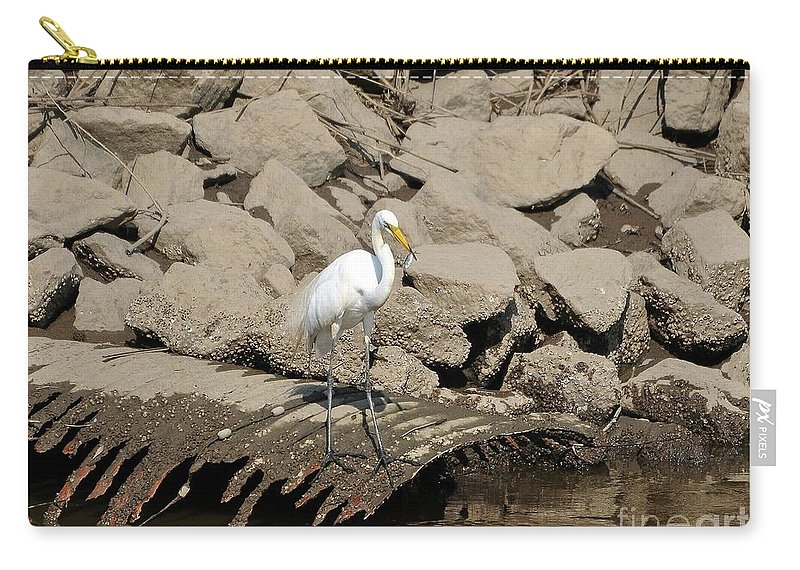 Great Egret Carry-all Pouch featuring the photograph Egret Fishing by Al Powell Photography USA