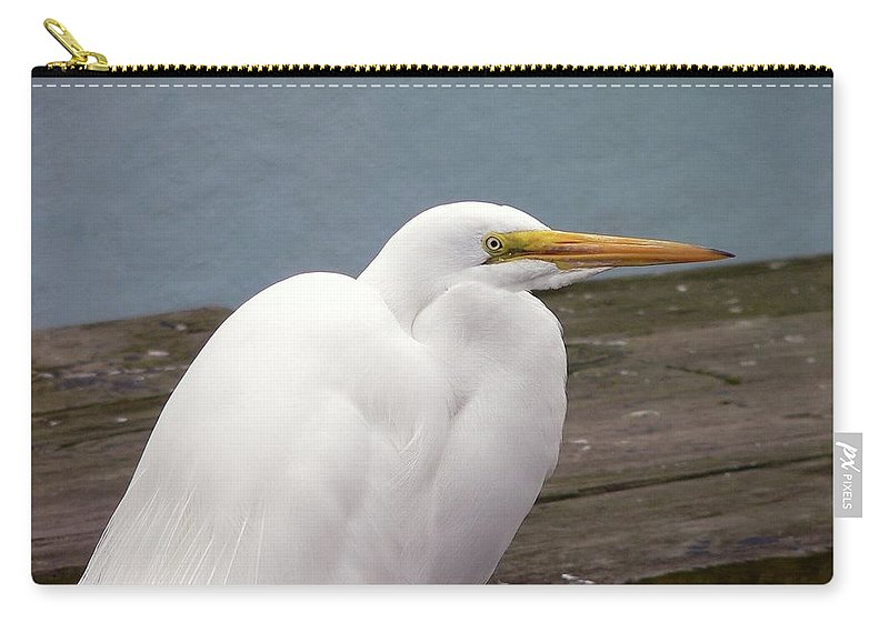 Great Egret Carry-all Pouch featuring the photograph Egret On The Dock by Al Powell Photography USA