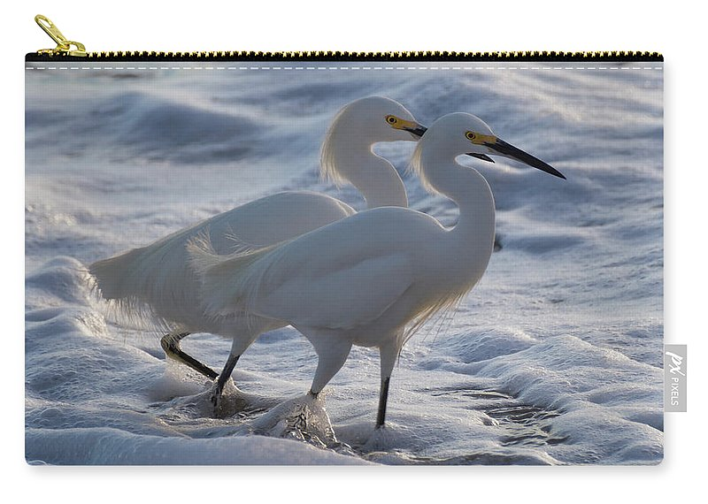 Egrets Carry-all Pouch featuring the photograph Egrets In The Shallows by Bruce Frye