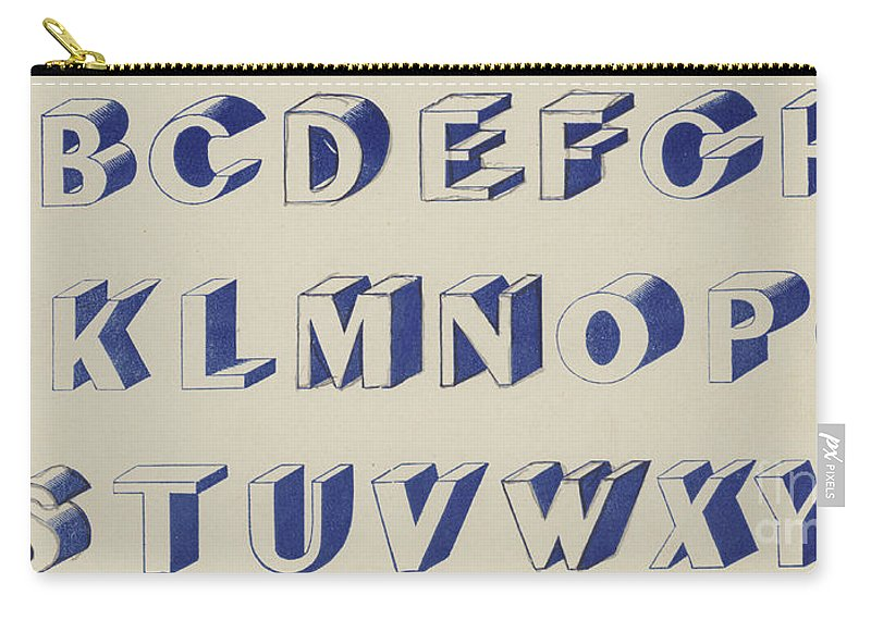 Blue Carry-all Pouch featuring the drawing Egyptian For Carving Vintage Blue Font Design by English School