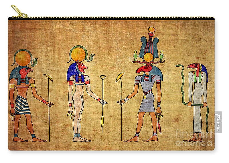 Egypt Carry-all Pouch featuring the digital art Egyptian Gods And Goddness by Michal Boubin