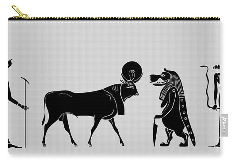 Egypt Carry-all Pouch featuring the digital art Egyptian Gods by Michal Boubin