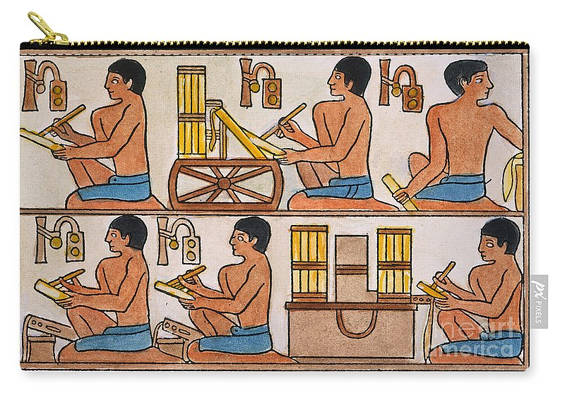 27th Century B.c. Carry-all Pouch featuring the photograph Egyptian Scribes by Granger