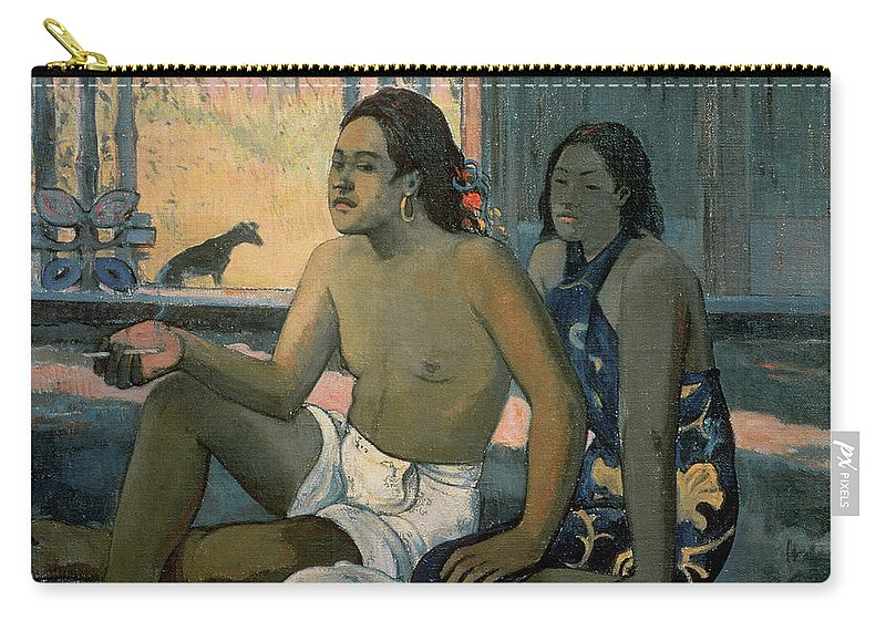 Eiaha Ohipa Or Tahitians In A Room Carry-all Pouch featuring the painting Eiaha Ohipa Or Tahitians In A Room by Paul Gauguin