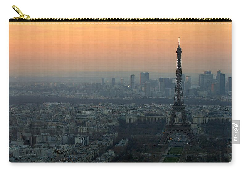 Eiffel Carry-all Pouch featuring the photograph Eiffel Tower At Dusk by Sebastian Musial