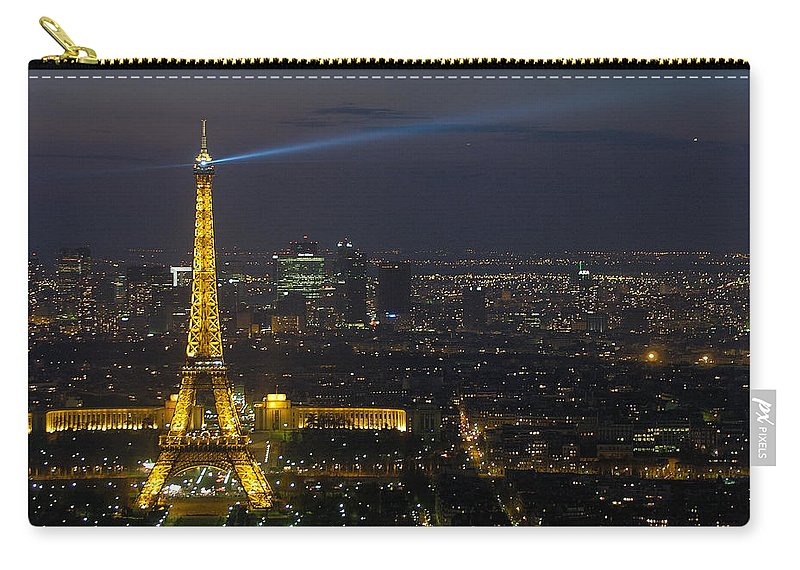 Eiffel Carry-all Pouch featuring the photograph Eiffel Tower At Night by Sebastian Musial
