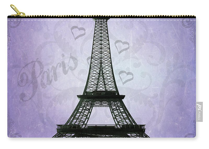 Eiffel Tower Carry-all Pouch featuring the photograph Eiffel Tower Collage Purple by Jim And Emily Bush