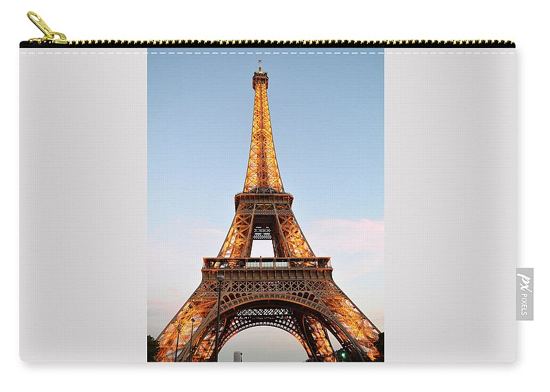 Eiffel Tower Carry-all Pouch featuring the photograph Eiffel Tower Lighted by Dawn Crichton