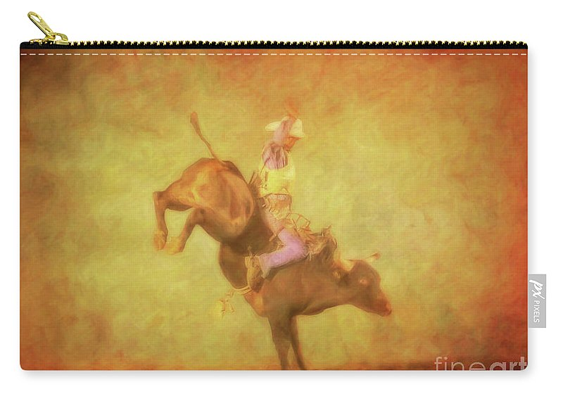 Eight Seconds Rodeo Bull Riding Carry-all Pouch featuring the digital art Eight Seconds Rodeo Bull Riding by Randy Steele