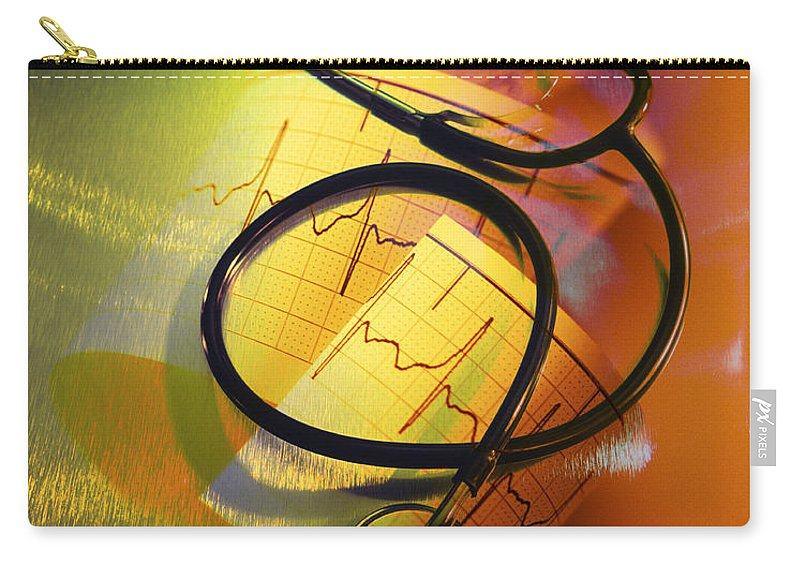 Yellow Carry-all Pouch featuring the photograph Ekg Stethoscope Composite by George Mattei