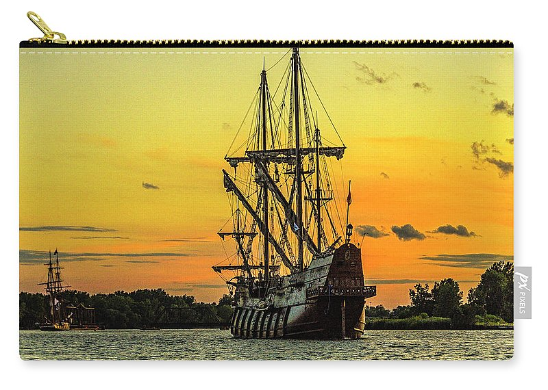Tall Ship Carry-all Pouch featuring the photograph El Galeon Andalucia 4 by Tom Clark