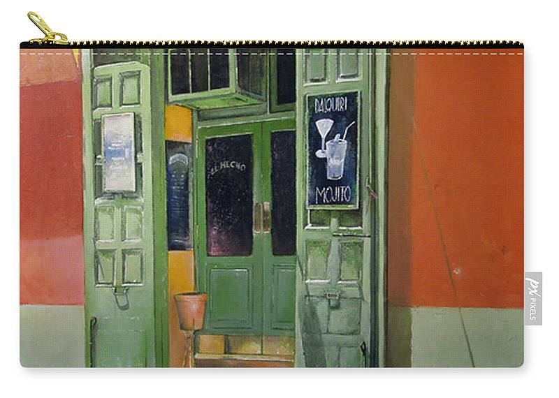 Hecho Carry-all Pouch featuring the painting El Hecho Pub by Tomas Castano