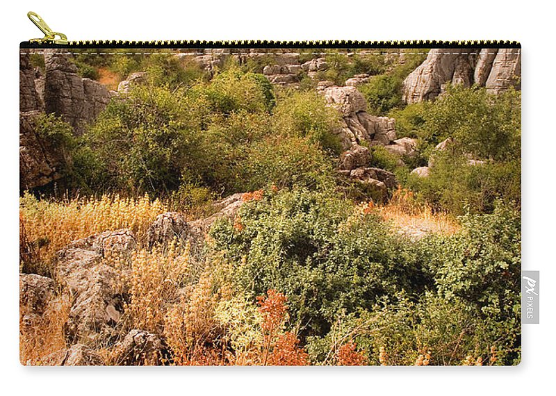 Limestone Carry-all Pouch featuring the photograph El Torcal Rock Formations by Mal Bray