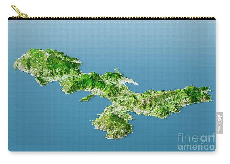 Elba Karte.Elba Topographic Map 3d Landscape View Natural Color Carry All Pouch