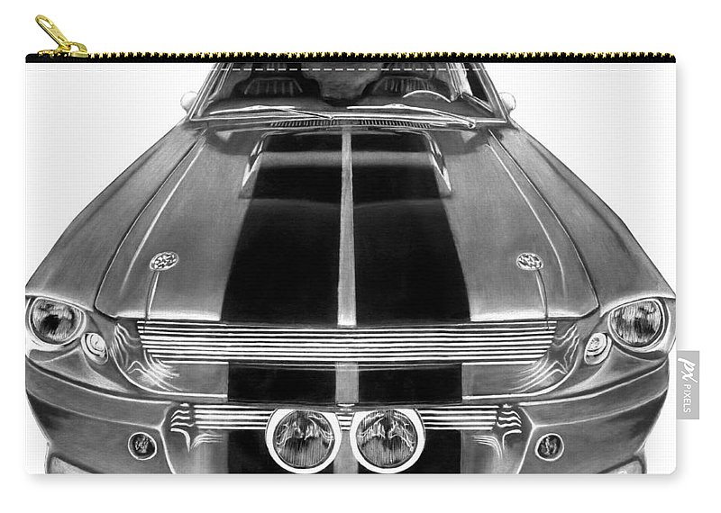 Eleanor Inverted Carry-all Pouch featuring the drawing Eleanor Ford Mustang by Peter Piatt