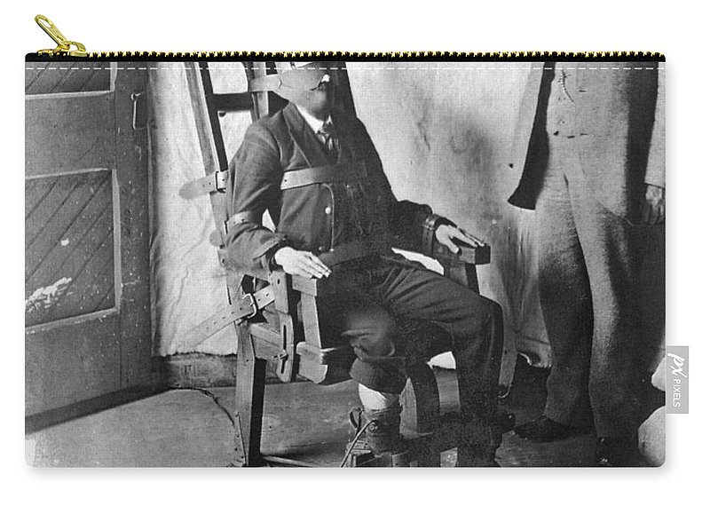 1908 Carry-all Pouch featuring the photograph Electric Chair, 1908 by Granger
